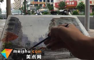 「水彩风景」雨中路-手绘帮