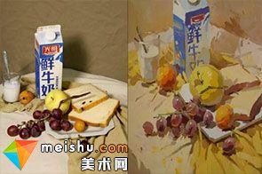 水粉静物牛奶-美术高考视频教学