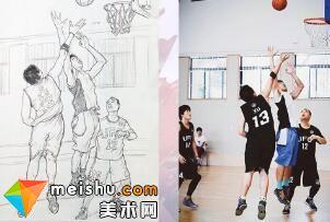 人物速写刘旭打篮球-美术高考视频教学