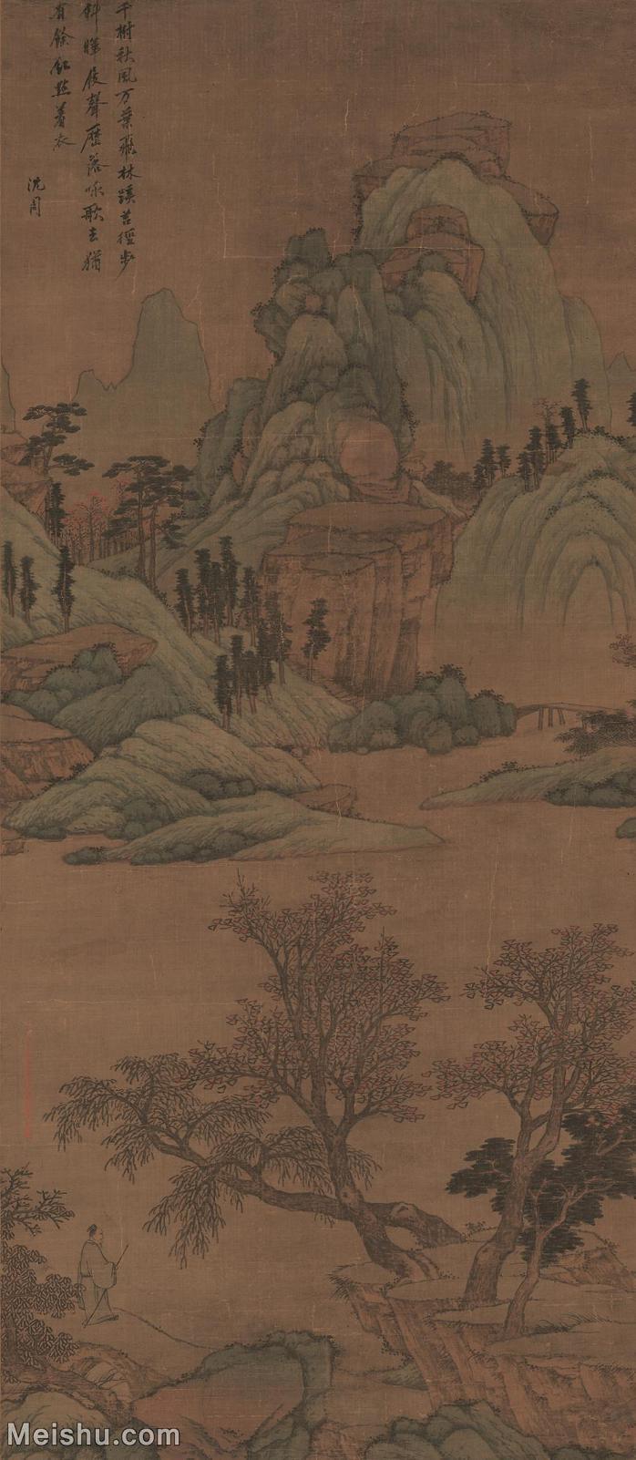 【超顶级】GH6088212古画山水风景青山红树图-明-沈周-绢本-30x68.5-90x206-青山林立轴图片-561