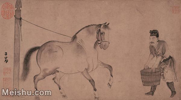 【打印级】GH7280118古画动物元 赵孟頫\ 饮马图 纸本 镜片图片-72M-5836X3236.jpg