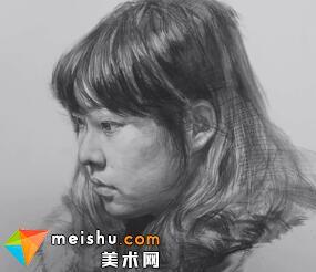 素描头像吕铮铮女青年-美术高考视频教学