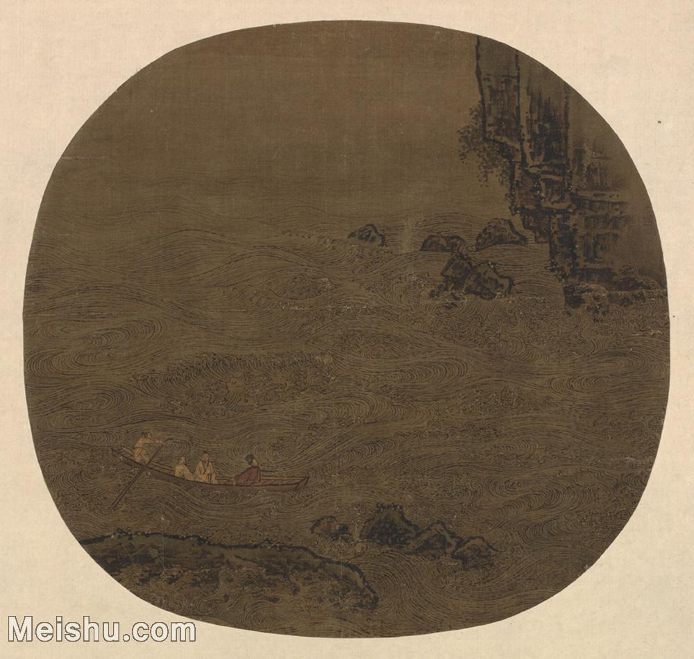 【印刷级】GH6081169古画山水风景-赤壁图-李嵩国画水墨-25x24-45x43.5-江河-小船-人物-小品图片-