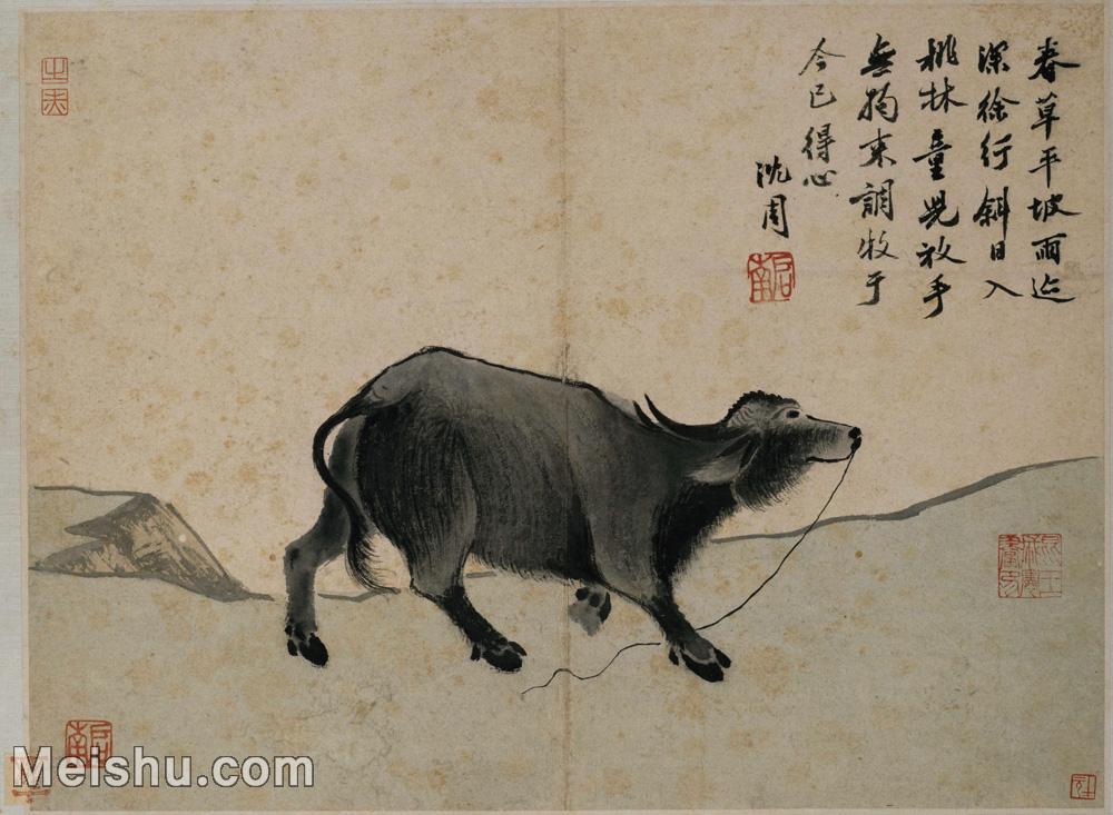 【印刷级】GH6061632古画沈周卧游图册(6)-动物-老牛册页图片-69M-5775X4234.jpg