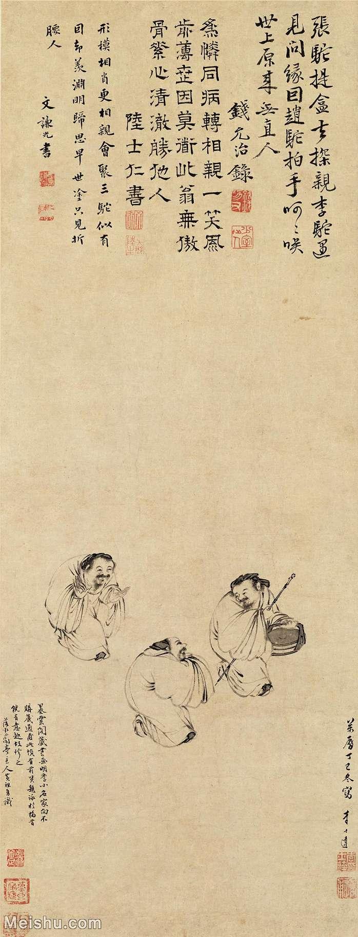 【超顶级】GH6086034古画人物三驼图-明-李士达-纸本-30x78-60x156.5-原30.3x78.5-老翁老