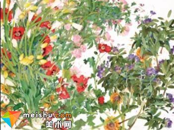 「水彩」他画中的花犹如