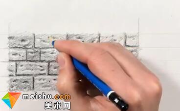 「素描」美术教程(英文)8-02-为砖块画材质