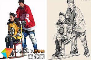 人物速写师锋溜冰组合-美术高考视频教学