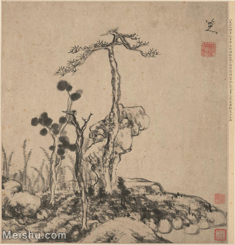 【印刷级】GH6080827古画树木植物清代朱耷八大山人花卉山水-10纸本34-5x36小品图片-37M-4072X42