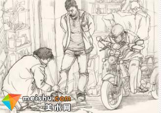 人物速写机车三轮擦鞋男组合-美术高考视频教学