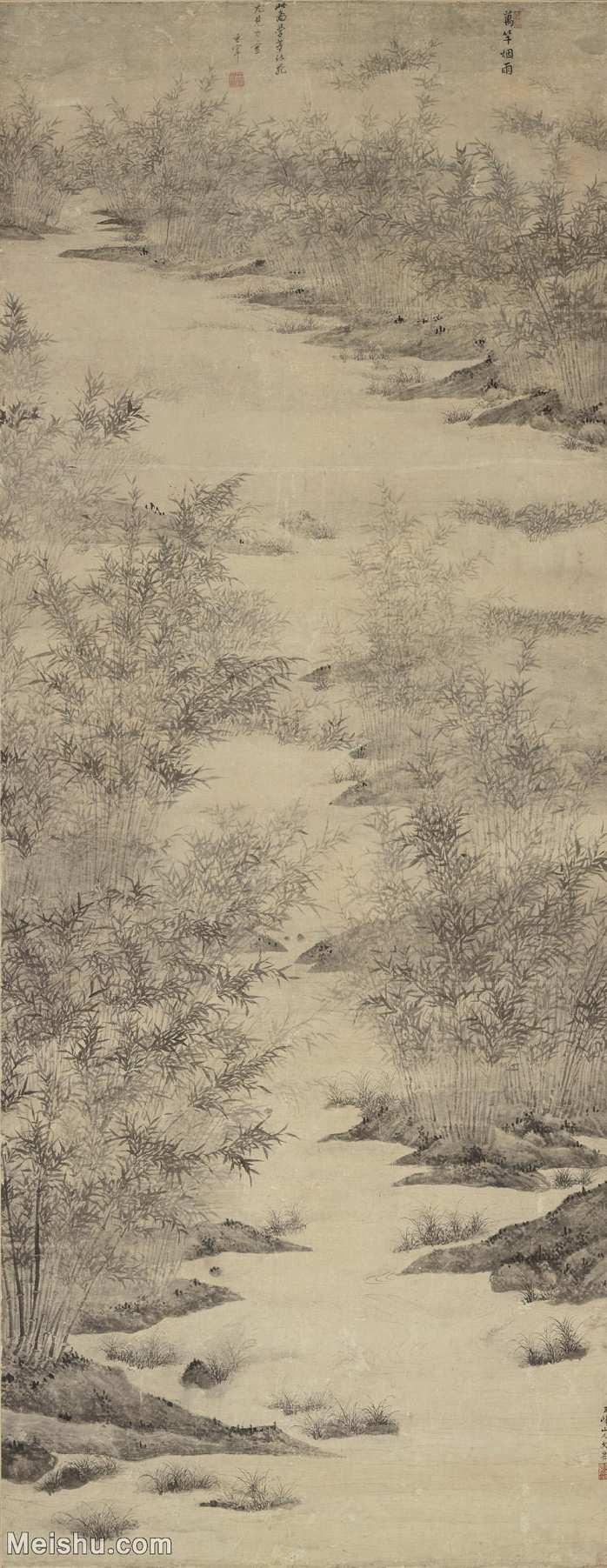 【超顶级】GH6088106古画山水风景四万图册之万杆烟雨-明-文伯仁-纸本-原73.5x188.1-河流湖泊草丛立轴图