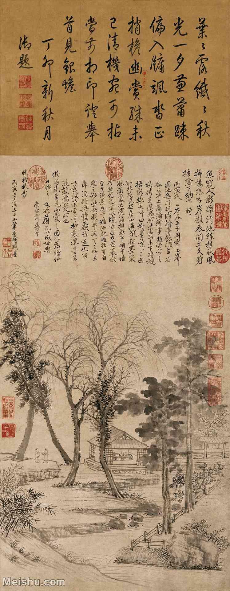 【超顶级】GH6085327古画树木植物-晚梧秋影图-清-王翚-纸本-30x76.5-40x102-山水-树林风景茅屋凉
