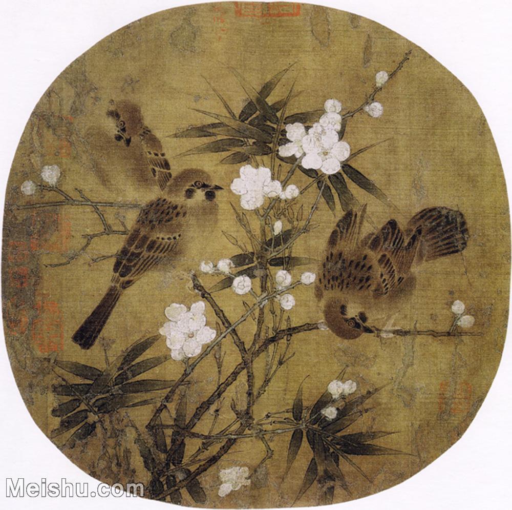 【打印级】GH6080258古画花卉鲜花鸟南宋 佚名 梅竹戏雀图 小品图片-18M-2562X2548-18M-2562