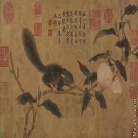 【印刷级】GH7280505古画植物-桃技松鼠镜片图片-83M-6064X3622