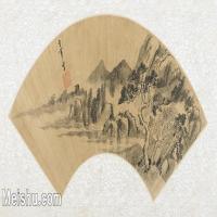 【打印级】GH6070294古画山水风景扇面图片-38M-5300X2561