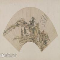 【打印级】GH6070421古画山水风景清 王敬铭山水图扇页 北京故宫 最清晰扇面图片-32M-4517X2550