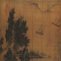 【印刷级】GH7280020古画山水风景-远水杨帆镜片图片-111M-8384X3496