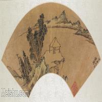 【打印级】GH6070287古画山水风景扇面图片-37M-5300X2451