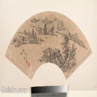 【打印级】GH6070387古画山水风景扇面图片-27M-4000X2366