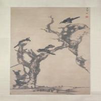 朱耷枯木寒鸦图轴-清朝-花鸟