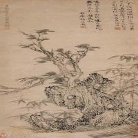 【欣赏级】GH6085578古画树木植物-霜柯竹石-水墨纸本立轴图片-17M-1572X3800_17998240