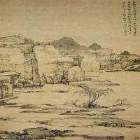 【欣赏级】GH6088698古画山水风景清-弘仁-雨余柳色图84.4X45.3立轴图片-24M-2076X3740_56827045