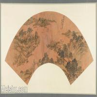 【印刷级】GH6070426古画山水风景王叔明扇面图片-65M-6666X3432