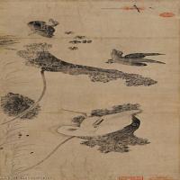 【超顶级】GH7280124古画动物池塘秋晚画芯左镜片图片-291M-19019X5357