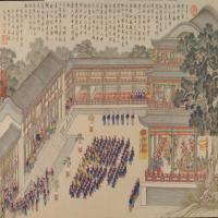 平定台湾战图册之清音阁凯宴将士-清朝-人物