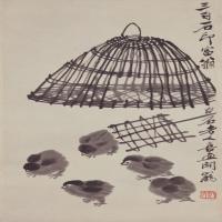 齐白石雏鸡出笼图轴-近现代-花鸟