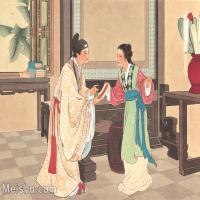 【印刷级】GH6061776古画西厢记-人物-女人-邀宴册页图片-23M-3524X2648