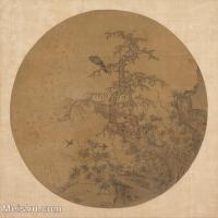 【印刷级】GH6080831古画树木植物古代山涧风景劲松鹰隼小品图片-40M-3808X3716