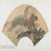 【欣赏级】GH6070398古画山水风景Zhou Chen扇面图片-15M-3200X1644