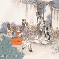 【印刷级】GH6061586古画任薰-生肖人物图册(9)-动物-戌狗册页图片-66M-5652X4209_57066257