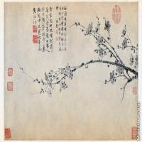 【印刷级】GH6105002古画镜片元  王冕 墨梅图花卉植物图片-79M-6757X4094