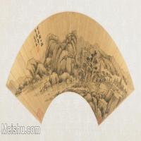 【欣赏级】GH6070427古画山水风景王时敏扇面图片-14M-3200X1625