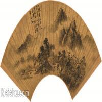【打印级】GH6040100古画扇面-明 孙枝-溪桥林屋图古画扇面-图片山水植物-64M-6002X2814