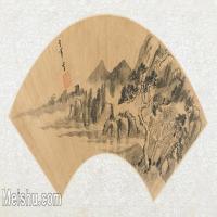 【欣赏级】GH6070397古画山水风景Zhong Chang扇面图片-14M-3199X1546