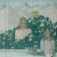 颐和园风景图轴-清朝-山水