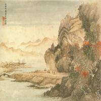 【打印级】GH7280027古画山水风景红林秋霁图镜片图片-48M-5057X3360