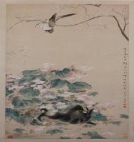 华嵒海棠禽兔图轴-清朝-花鸟