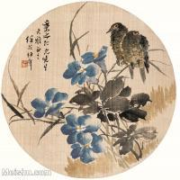 【印刷级】GH6061082古画任伯年花鸟小品图册(3)-喜鹊-兰花册页图片-29M-3184X3193