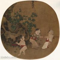 【印刷级】GH6080657古画人物-宋代秋庭戏婴图小品图片-53M-3798X3717