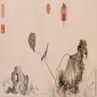 【印刷级】GH7280510古画植物莲浦松阴图镜片图片-85M-9851X3937_19971357