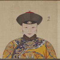 【印刷级】GH6151051古画册页人物清郎世宁高宗帝后像-惇妃图片-6M-1300X1785_57609734