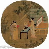 【印刷级】GH6156061古画佚名-绣栊晓镜24.2x25人物小品图片-45M-4056X3897_18716204