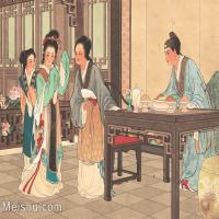 【印刷级】GH6061773古画西厢记-人物-女人-赖婚册页图片-25M-3525X2649