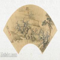【打印级】GH6070293古画山水风景扇面图片-40M-5300X2664