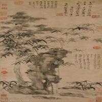 【超顶级】GH6085322古画树木植物-梧竹秀石图-元-倪瓒-纸本-30x78.5-110x288-墨竹子假山顽石立轴图片-702M-9684X25337_7581242