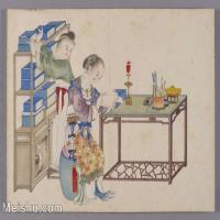 【印刷级】GH6061841古画清-喻兰-仕女清娱图册-人物-书架-阅书册页图片-41M-4353X3306